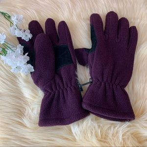 Purple Suede Cut Out Winter Gloves